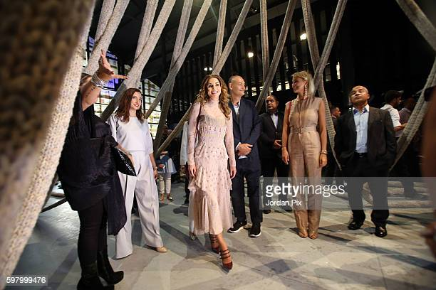 Queen Rania Al Abdullah of Jordan inaugurates the first Amman Design Week in an opening reception at the Ras Al Ain Gallery and Hangar on Tuesday...