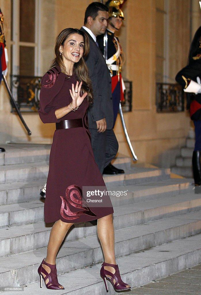 French President Francois Hollande Receives King Abdallah II of Jordan At Elysee Palace in Paris : News Photo