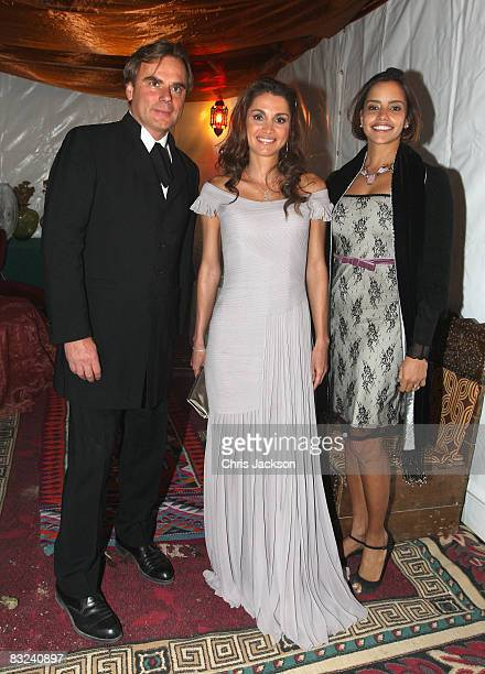 Queen Rania Al Abdullah of Jordan meets Andrea Griminelli backstage at a Memorial Concert to Luciano Pavarotti at Little Petra to celebrate the life...