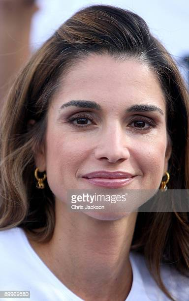 Queen Rania Al Abdullah of Jordan poses for a photograph at the 1 Goal Education for All photocall at Wembley Stadium on August 20 2009 in London...