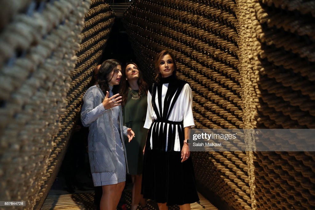 Queen Rania al Abdullah of Jordan reviews exhibited designs at Amman Design Week that exhibit at the ras el Ain gallery in downtown Amman, Jordan, on October 4, 2017. Amman design week which is a Queen Rania initiative hosts in its second year designs of more than one hundred regional and international designers from United Arab Emirates, Saudi Arabia, Kuwait, Palestine, Lebanon, Egypt, Iraq, Morocco, India, Germany, France, the United States and Jordan.