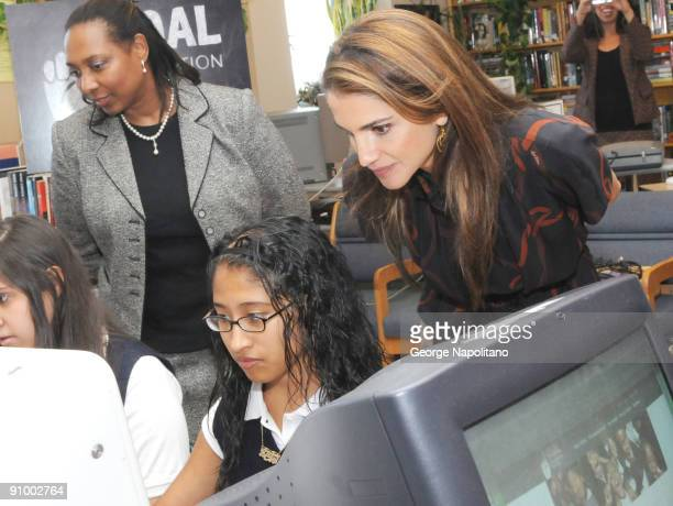 Queen Rania Al Abdullah visits The Young Women's Leadership School East Harlem on September 21 2009 in New York City