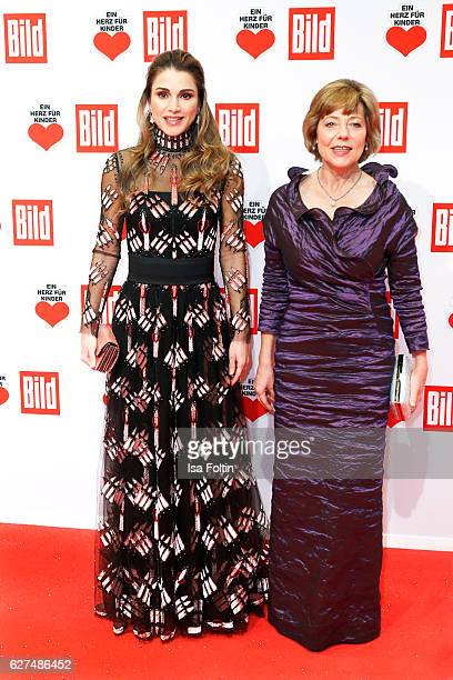 Queen Rania AlAbdullah of Jordan and Daniela Schadt girlfriend of the federal president of Germany attend the Ein Herz Fuer Kinder gala on December 3...