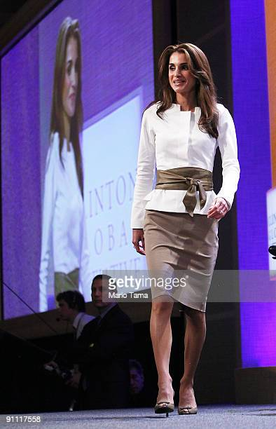 Queen Rania Al-Abdullah of Jordan appears at the Clinton Global Initiative on September 24, 2009 in New York City. The Fifth Annual Meeting of the...