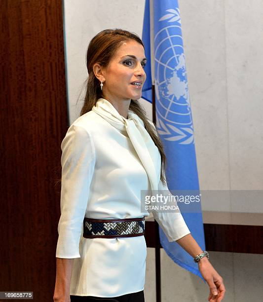 Queen Rania AlAbdullah of Jordan arrives for a meeting about the Highlevel Panel Report on Post2015 Millennium Development Goals with United Nations...