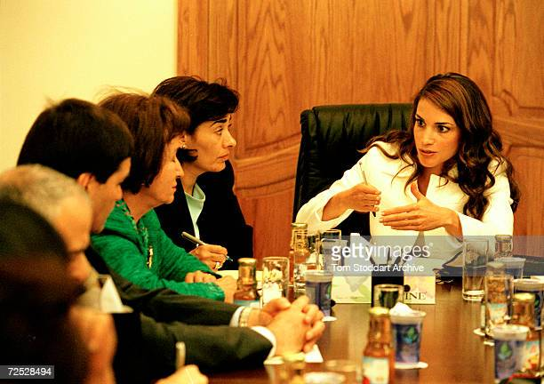 Queen Rania Al-Abdullah of Jordan chairs a committee meeting of the National Council for Family Affairs in Amman, Jordan. Queen Rania Al-Abdullah was...
