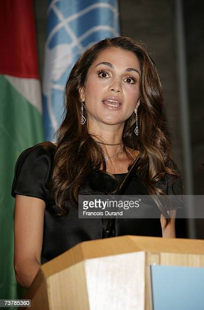 Queen Rania al-Abdullah of Jordan speaks during the UNESCO Goodwill Ambassadors Annual Gathering Meeting at the UNESCO headquarters after a...