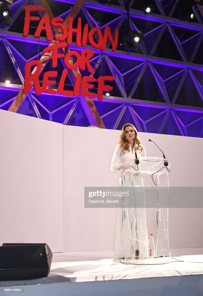 Queen Rania al-Yassin of Jordan speaks at the Fashion for Relief gala dinner during the 70th annual Cannes Film Festival at Aeroport Cannes Mandelieu on May 21, 2017 in Cannes, France.