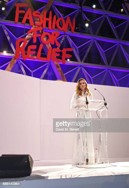 Queen Rania alYassin of Jordan speaks at the Fashion for Relief gala dinner during the 70th annual Cannes Film Festival at Aeroport Cannes Mandelieu...