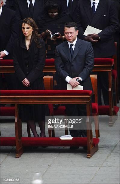 Queen Rania and King Abdallah of Jordan at the Funeral of Pope John Paul II at Saint Peter's Basilica in Rome Italy on April 8 2005