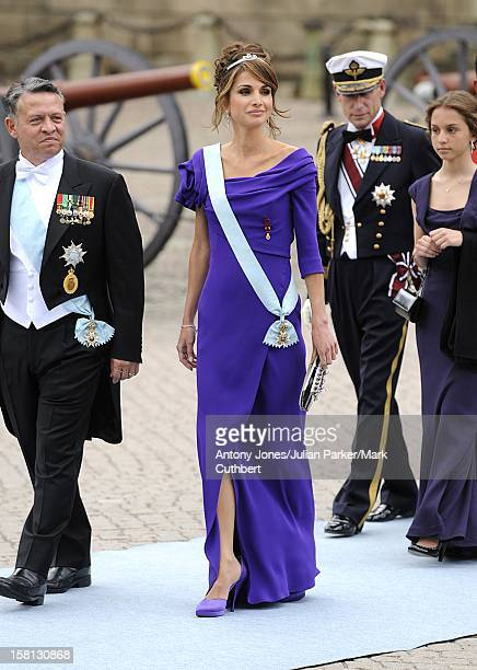 Queen Rania And King Abdullah Of Jordan And At The Wedding Of Crown Princess Victoria Of Sweden And Daniel Westling At Stockholm Cathedral