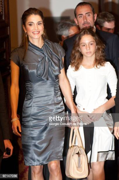 Queen Rania of Jordan and daughter Princess Iman enter Rome's city hall to hold a conference for the launch in Italy of the '1 Goal Campaign...