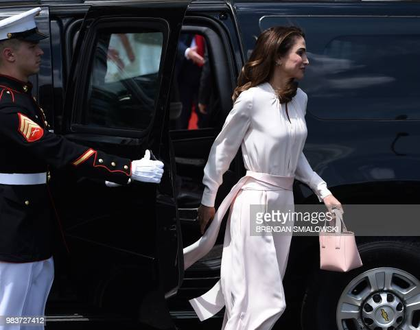 Jordan's Queen Rania arrives at the White House on June 25 2018 in Washington DC