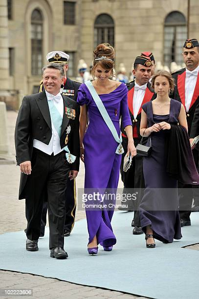 Queen Rania of Jordan and King Abdullah of of Jordan and their daughter Princess Iman attend the wedding of Crown Princess Victoria of Sweden and...
