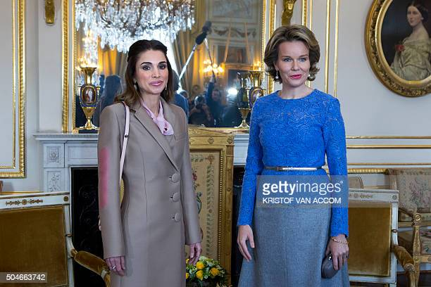Queen Rania of Jordan and Queen Mathilde of Belgium pose during their meeting at the Royal Palace in Brussels on January 12 2016 / AFP / Belga /...