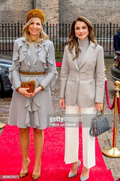 Queen Rania of Jordan and Queen Maxima of The Netherlands arrive at the Binnenhof for the lunch offered by the government on March 21 2018 in The...