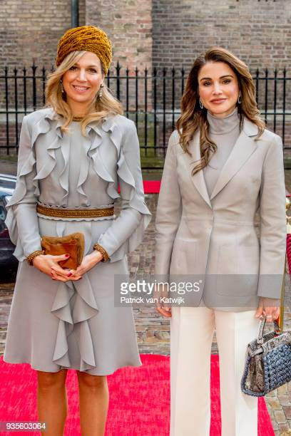 Queen Rania of Jordan and Queen Maxima of The Netherlands arrive at the Binnenhof for the lunch offered by the government on March 21, 2018 in The...