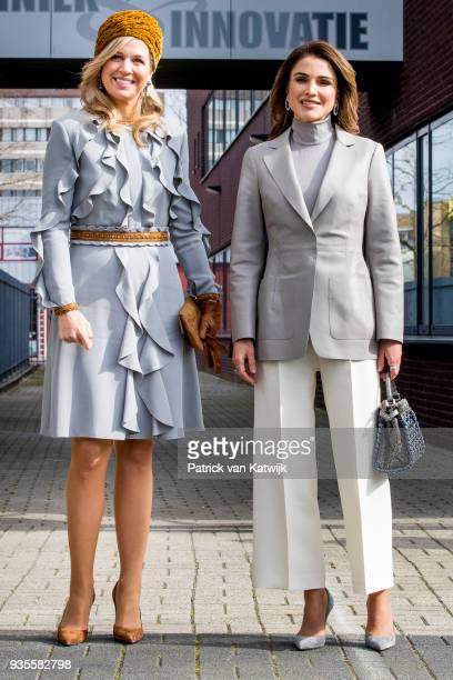 Queen Rania of Jordan and Queen Maxima of The Netherlands visit the ROC Mondriaan technical school on March 21, 2018 in The Hague, Netherlands.