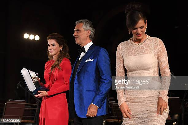 Queen Rania of Jordan Andrea Bocelli and Veronica Bocelli attend the Celebrity Fight Night gala at Palazzo Vecchio as part of Celebrity Fight Night...