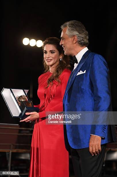 Queen Rania of Jordan Andrea Bocelli attend the Celebrity Fight Night gala at Palazzo Vecchio as part of Celebrity Fight Night Italy benefiting The...