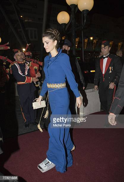 Queen Rania of Jordan arrives at a dinner hosted by Dutch Queen Beatrix at the Kurhaus Hotel on October 31 2006 in Scheveningen, Netherlands.