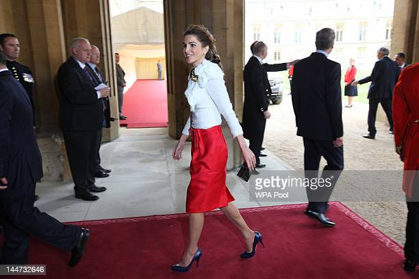 Queen Rania of Jordan arrives at a lunch For Sovereign Monarchs in honour of Queen Elizabeth II's Diamond Jubilee at Windsor Castle on May 18 2012 in...