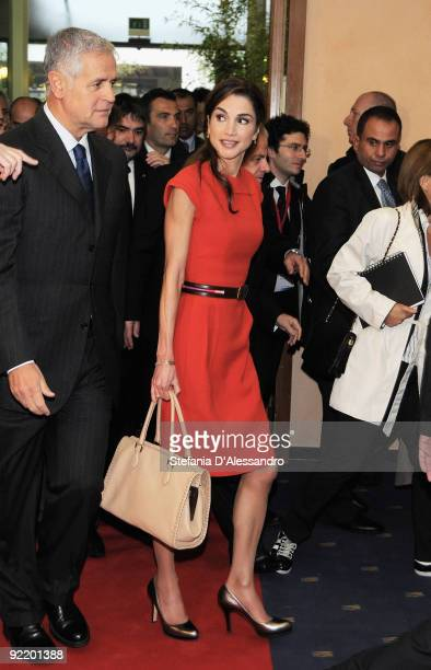 Queen Rania of Jordan arrives at the Palazzo Mezzanotte to attend the Jordan-Italy Business Forum on October 22, 2009 in Milan, Italy. Queen Rania...