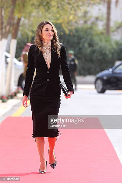 Queen Rania of Jordan arrives at the State opening of the Parliament on November 7 in Amman Jordan King Abdullah addressed the recently elected 18th...