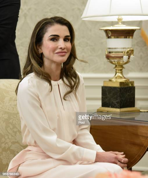 Queen Rania of Jordan attends a meeting in the Oval Office of the White House on June 25 2018 in Washington DC