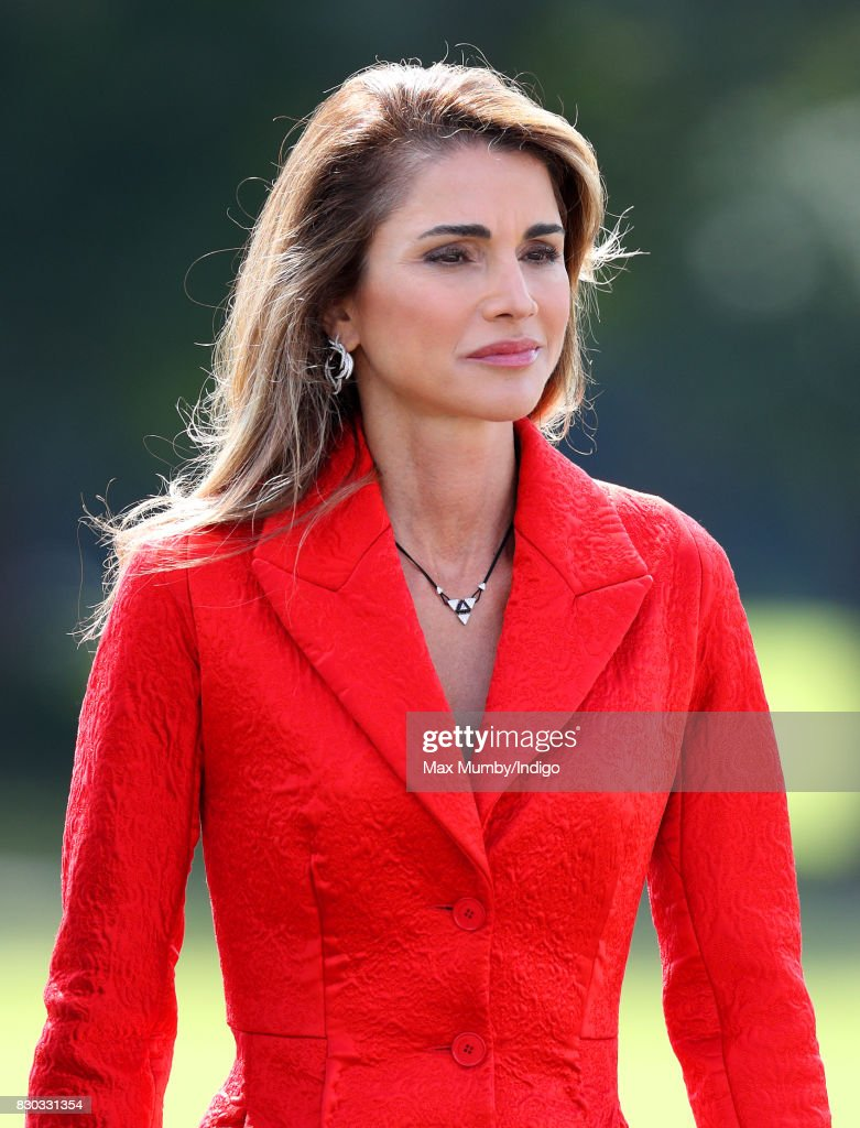 Queen Rania of Jordan attends the Sovereign's Parade at the Royal Military Academy Sandhurst on August 11, 2017 in Camberley, England. The Sovereign's Parade takes place in the Old College Square at Sandhurst's Royal Military Academy at the end of each term and marks the passing out of Officer Cadets who have completed the commissioning course. King Abdullah graduated from the Royal Military Academy in 1981 and today his son Crown Prince Hussein of Jordan was one of the graduating Officer Cadets.
