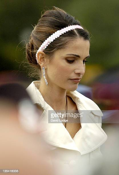 Queen Rania of Jordan attends the Sovereigns Parade August 11 held at the Royal Military Academy Sandhurst
