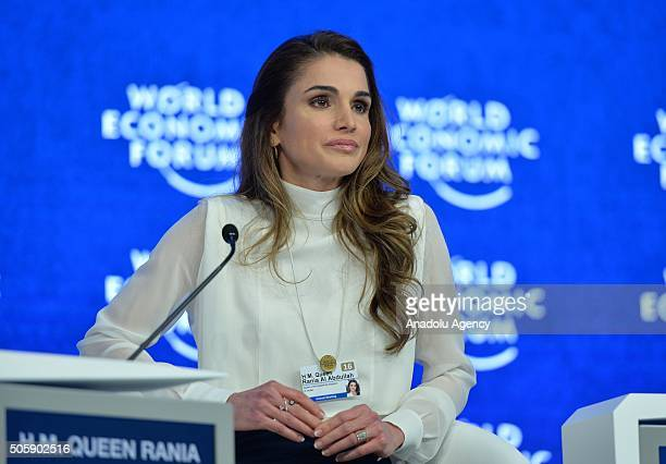 Queen Rania of Jordan attends the 'The Humanitarian Imperative A Global Regional and Industry Response' session of World Economic Forum in Davos...
