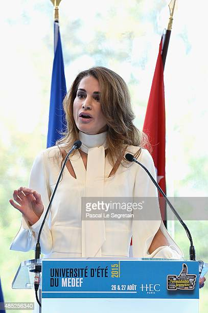Queen Rania of Jordan delivers a speech at the Medef Summer 2015 University Conference on August 26 2015 in JouyenJosas France