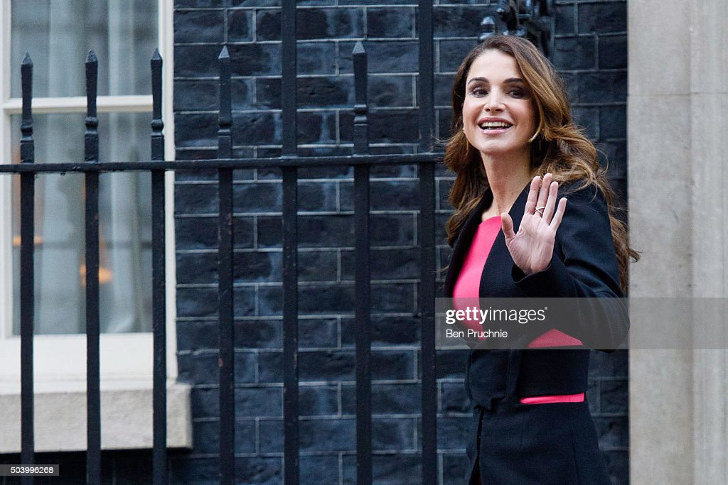 Queen Rania of Jordan departs Number 10 Downing Street on January 8, 2016 in London, England. The Prime Minister held talks with Queen Rania of Jordan today, discussing the need for a comprehensive approach to the Syrian humanitarian crisis and how to implement education and employment for refugees, to enable them to return to Syria and rebuild its economy in the future.