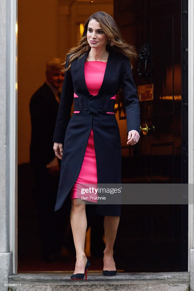 Queen Rania of Jordan departs Number 10 Downing Street on January 8, 2016 in London, England.The Prime Minister held talks with Queen Rania of Jordan today, discussing the need for a comprehensive approach to the Syrian humanitarian crisis and how to implement education and employment for refugees, to enable them to return to Syria and rebuild its economy in the future.