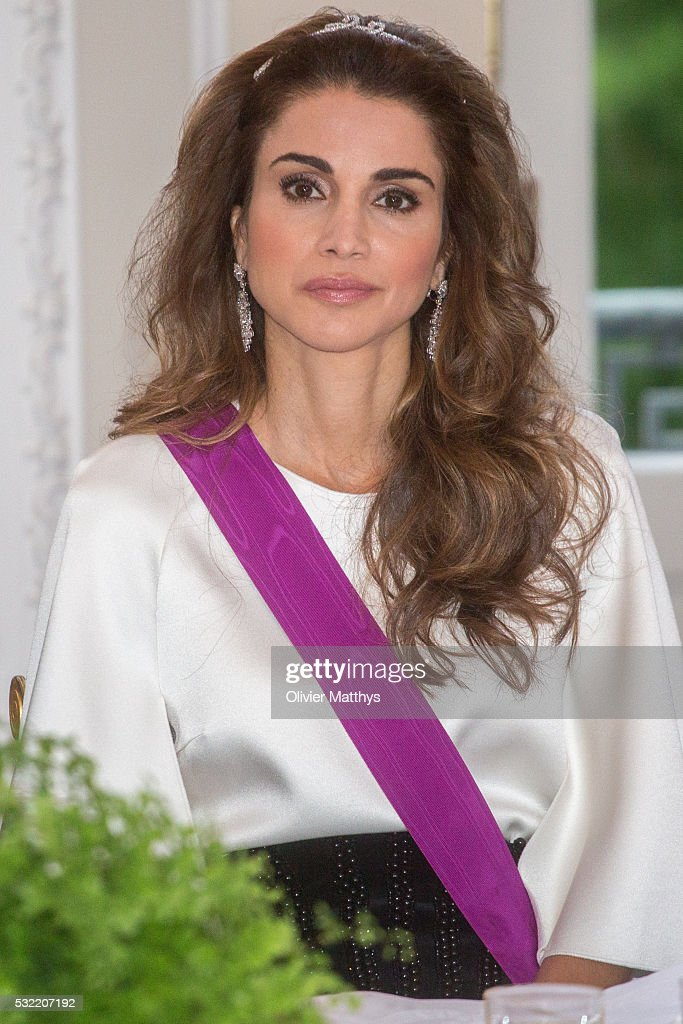 Queen Rania of Jordan during the gala dinner at the Royal Palace of Lakaen on May 18, 2016 in Brussels, Belgium.