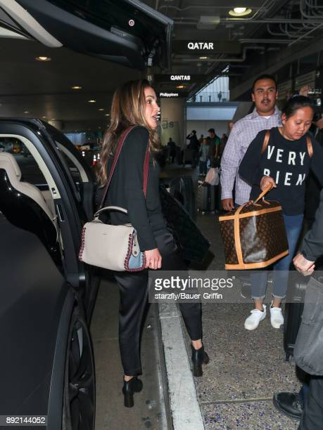 Queen Rania of Jordan is seen at Los Angeles International Airport on December 13 2017 in Los Angeles California