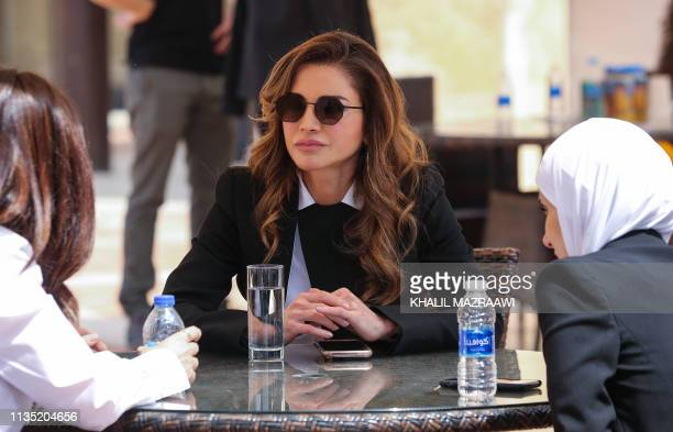 Queen Rania of Jordan is seen during the 2019 World Economic Forum on the Middle East and North Africa, at the King Hussein Convention Centre at the...