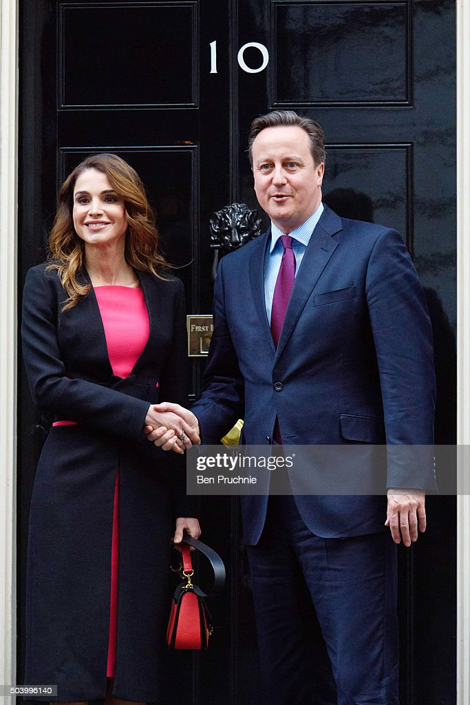 Queen Rania of Jordan meets British Prime Minister David Cameron on the doorstep of Number 10 Downing Street on January 8, 2016 in London, England. The Prime Minister held talks with Queen Rania of Jordan today, discussing the need for a comprehensive approach to the Syrian humanitarian crisis and how to implement education and employment for refugees, to enable them to return to Syria and rebuild its economy in the future.