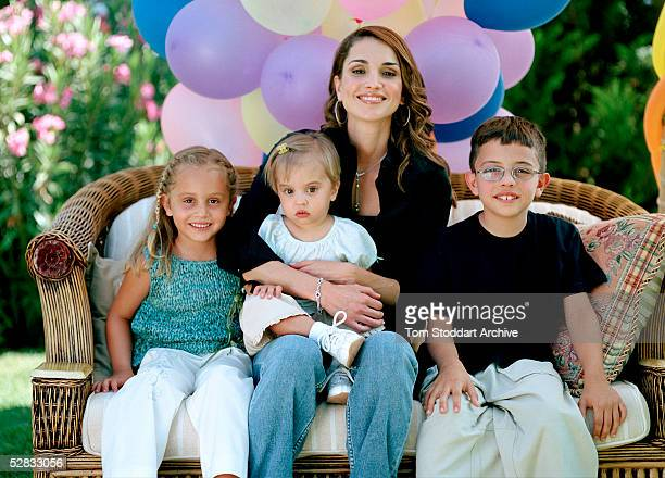 Queen Rania of Jordan photographed at home with her children Princess Iman Princess Salma and Prince Hussein Queen Rania AlAbdullah was born in...
