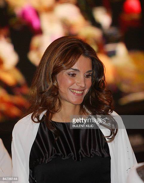 Queen Rania of Jordan poses at a meeting of spouses of the heads of state of government that brought together among others Libyan leader Moamer...