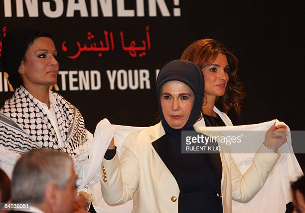 Queen Rania of Jordan second wife of Qatar's Sheikh Hamad bin Khalifa Al Thani and Emine Erdogan wife of Turkish Prime Minister Recep Tayyip Erdogan...