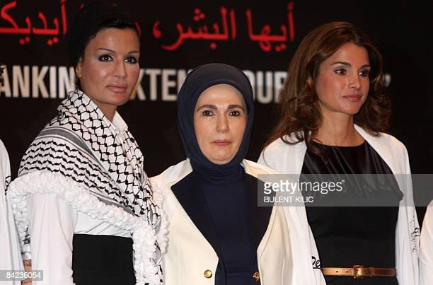 Queen Rania of Jordan Second wife of Qatar's Sheikh Hamad bin Khalifa Al Thani and Emine Erdogan wife of Turkish Prime Minister Recep Tayyip Erdogan...