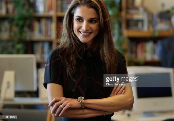 Queen Rania of Jordan smiles in a classroom at the Young Women's Leadership School in East Harlem neighborhood of Manhattan September 21, 2009 in New...