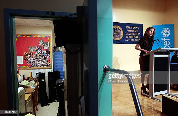 Queen Rania of Jordan speaks to students at the Young Women's Leadership School in East Harlem neighborhood of Manhattan September 21 2009 in New...
