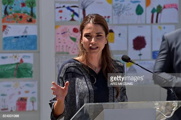 Queen Rania of Jordan speaks to the press as she visits the refugee camp of Kara Tepe in Mytilene on April 25 2016 MESSINIS