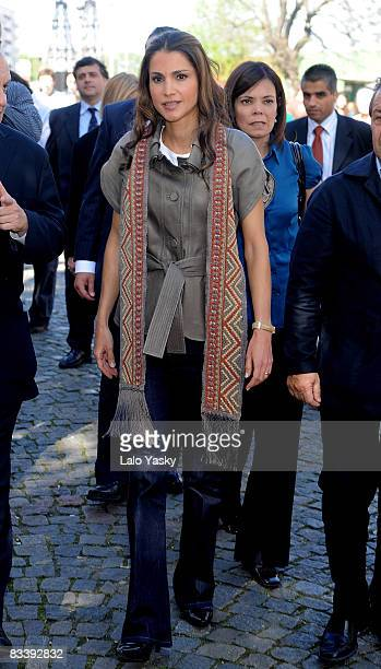 Queen Rania of Jordan visits the traditional 'Caminito' street in La Boca disctrict on October 22 2008 in Buenos Aires Argentina