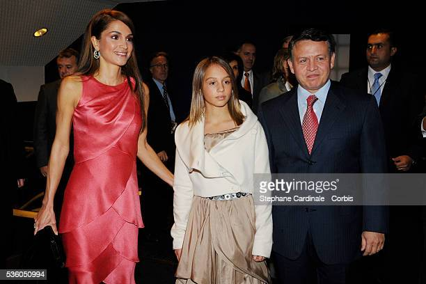 HRH Queen Rania of Jordania HRH King Abdullah II of Jordan with their daughter Princess Iman arrive at the premiere of the James Bond film 'Quantum...