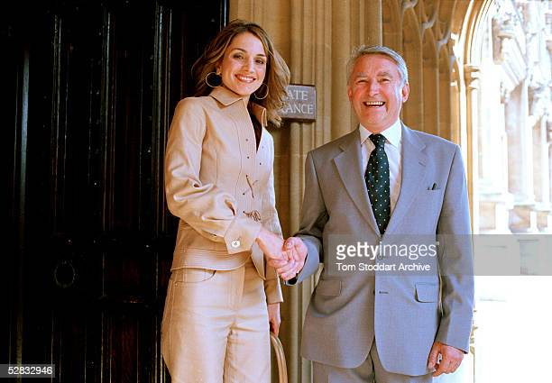 Queen Rania photographed with Sir David Steele during a visit to Britan's House of Lords. Queen Rania Al-Abdullah was born in Kuwait on August 31,...