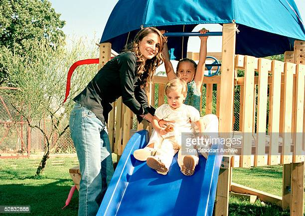 Queen Rania pictured with her daughters Princess Iman and Princess Salma Queen Rania AlAbdullah was born in Kuwait on August 31 1970 Queen Rania...